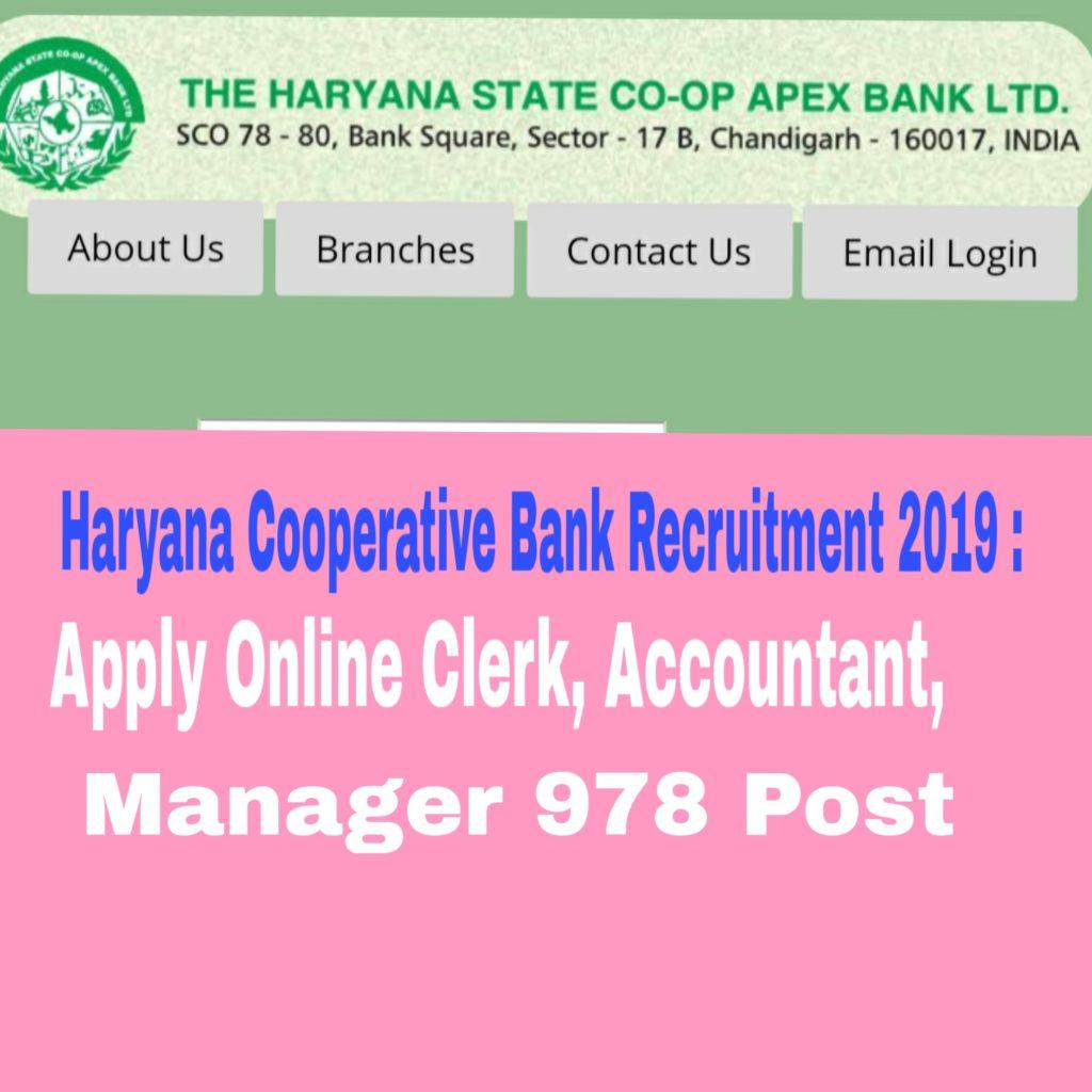 Haryana Cooperative Bank Recruitment 2019 : 978 Post