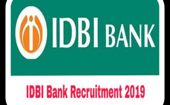 IDBI Bank Recruitment 2019